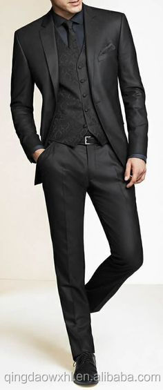 Classical black 3 pieces best sale customized coat pants formal uniform men suit фото