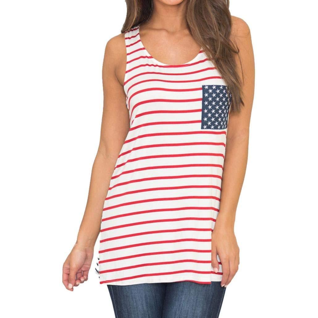 bd4d80dd03cc9 Get Quotations · BCDshop Tanks Womens Striped Tank Tops American Flag Print Sleeveless  Shirts T-Shirts Summer Casual
