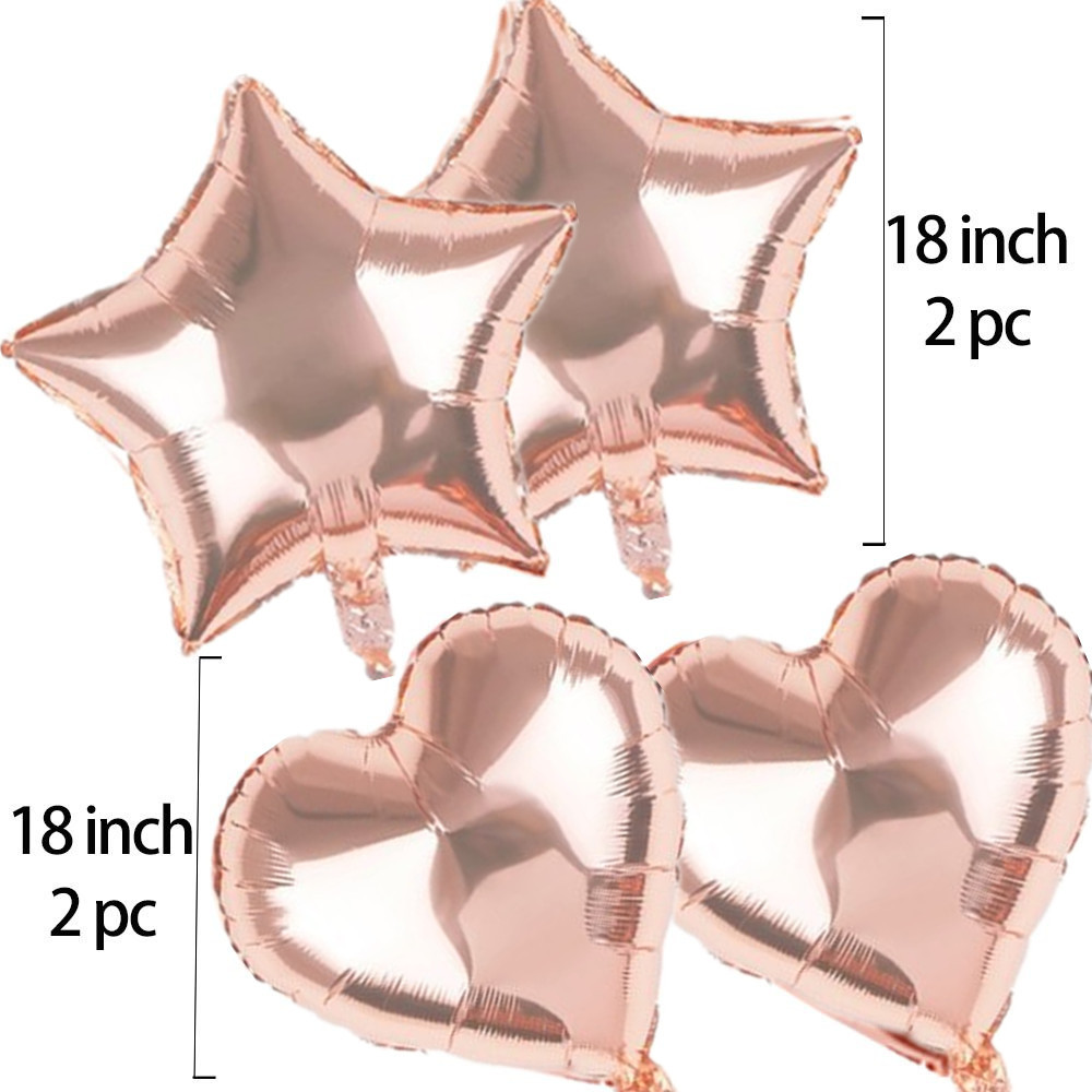 Custom Birthday Party Supplies Rose Gold Confetti Latex Balloons set Banner Star foil Balloons set Decoration