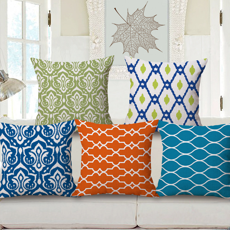 45cm 200g Blue Orange Stripe Thick Type Fashion Cotton Linen Throw Pillow Hot Sale 18 Inch New Home Decor Sofa Back Cushion MQQ