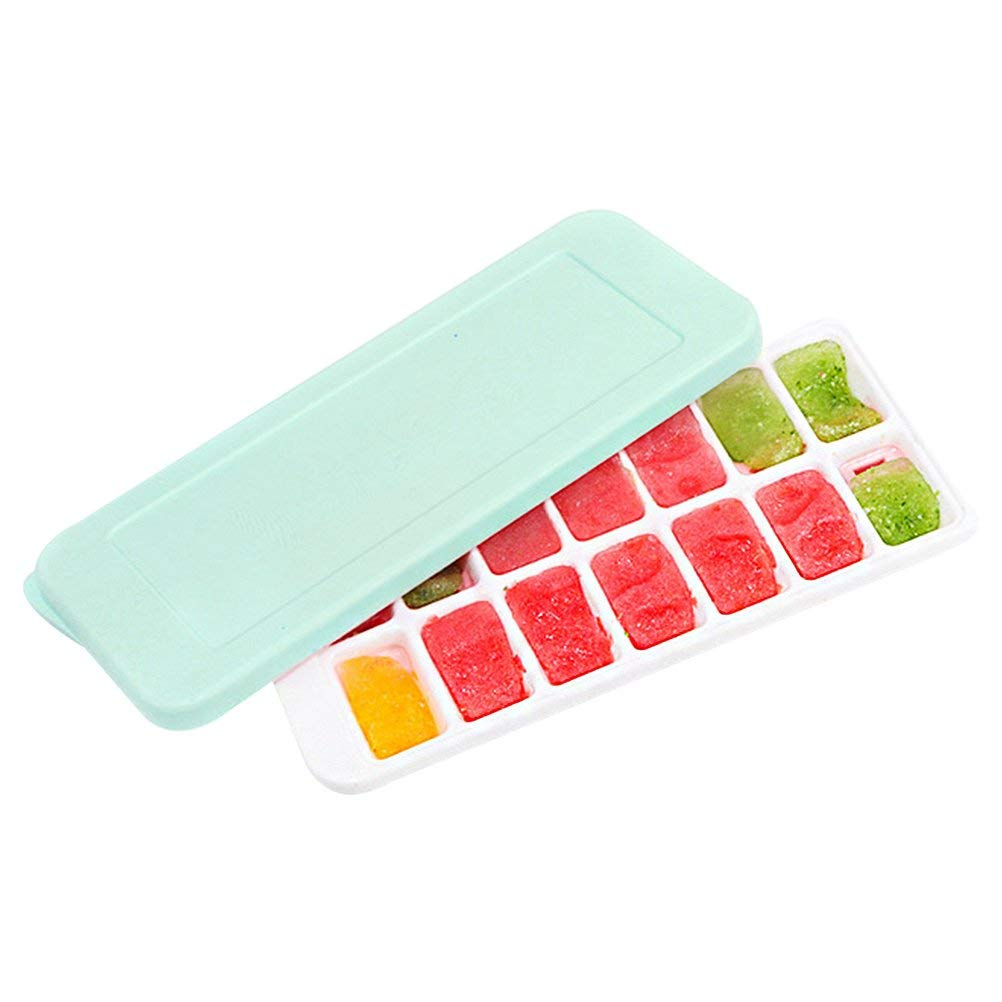 Cimeiee Ice Cube Trays with Spill-Resistant Removable Lid, Stackable Durable and Dishwasher Safe(14-Ice Trays) Mint Green