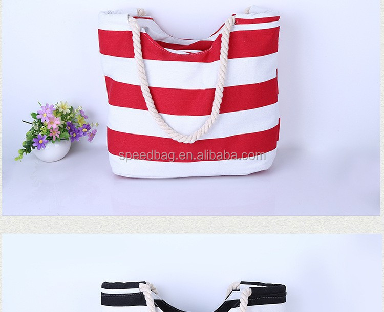 Red White Canvas Rope Handle Beach Bag Stripe Canvas Beach Tote ...