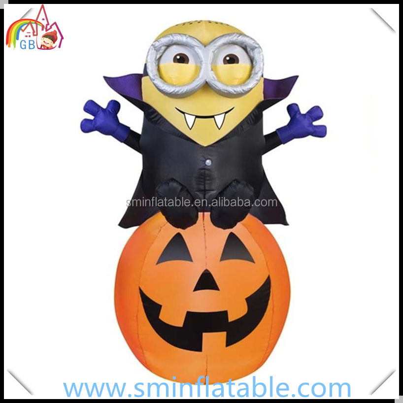 Halloween yard decor inflatable pumpkin with minions ,led lighted air blown halloween decorative for party