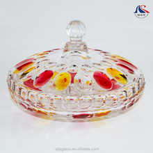 Wholesale Colored Glassware Decorative Sprayed Glass Plate with Cover