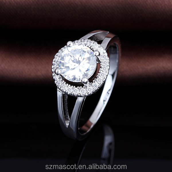 Rhodium Plated 925 Sterling Silver Cubic Zirconia Classic Round Halo Ring