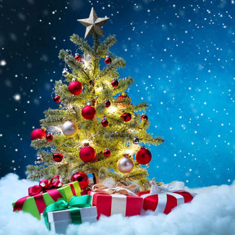 Christmas Gift Background: Attractive Christmas Tree Gifts Background Fashion