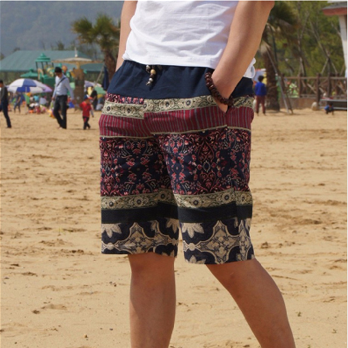 2017 new men fashion stitching loose linen beach shorts