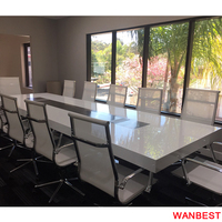 Modern Acrylic White Multimedia Office Conference Room Training Table with Power Outlet