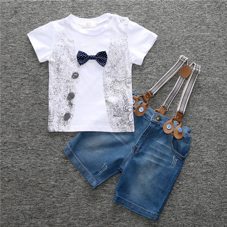 f78c10ec5 2017 Summer Fashion Children Garment Boys Outfits White Cotton T-Shirt  Jeans Pants 2 Pcs Kids Boys Clothes Set