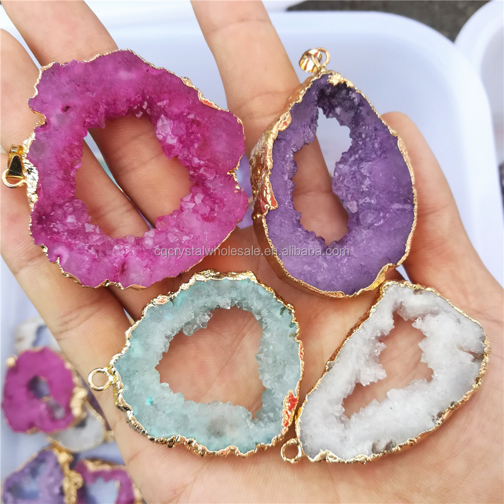natural stone agate slices pendants, fashion drusy quartz crystal geode slices