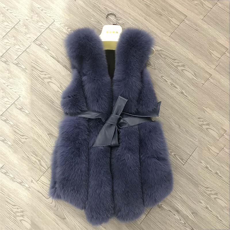 New Hot Europe Custom Winter Warm Fur Gilet Black Brown Fur Coat Womens Real Fur Vest