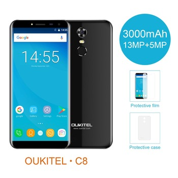 Oukitel C8 18:9 Infinity Display 5.5Inch Smartphone Android 7.0 3000mAh 2GB RAM 16GB MT6580 Quad Core Fingerprint 13MP Cellphone