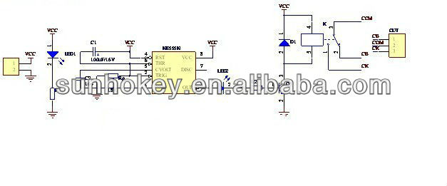 automotive electronics ne555 delay module connecting