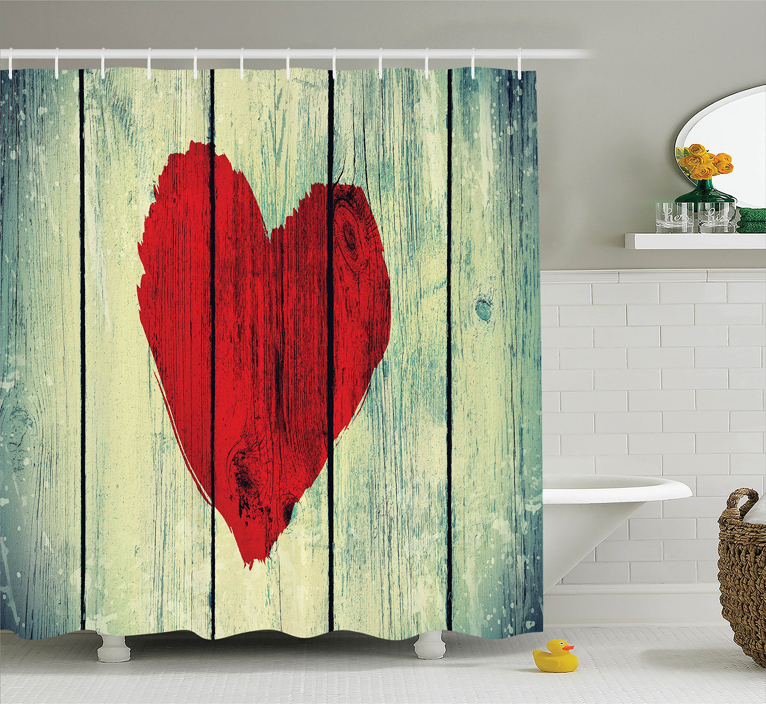 Get Quotations · Love Decor Shower Curtain Set By Ambesonne, Love Heart  Symbol Painted On Rustic Wooden Wall