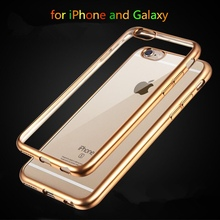 Top Quality Electroplated Soft Clear Cases For Apple iphone 6 6S 4.7″ / 6 6s Plus 5.5″ 5 5s 4 4s Mobile Phone Back Bags Cases
