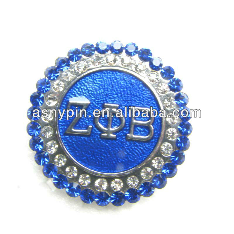 Zeta Phi Beta sparkly brooch pin, crystal lapel pin
