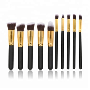 2018 Amazon hot sale pretty travel 10pcs private label kabuki makeup brush set