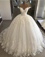Luxury Cheap Women V Neck Lace Appliques Bling Pakistani Ball Gown Wedding Dresses