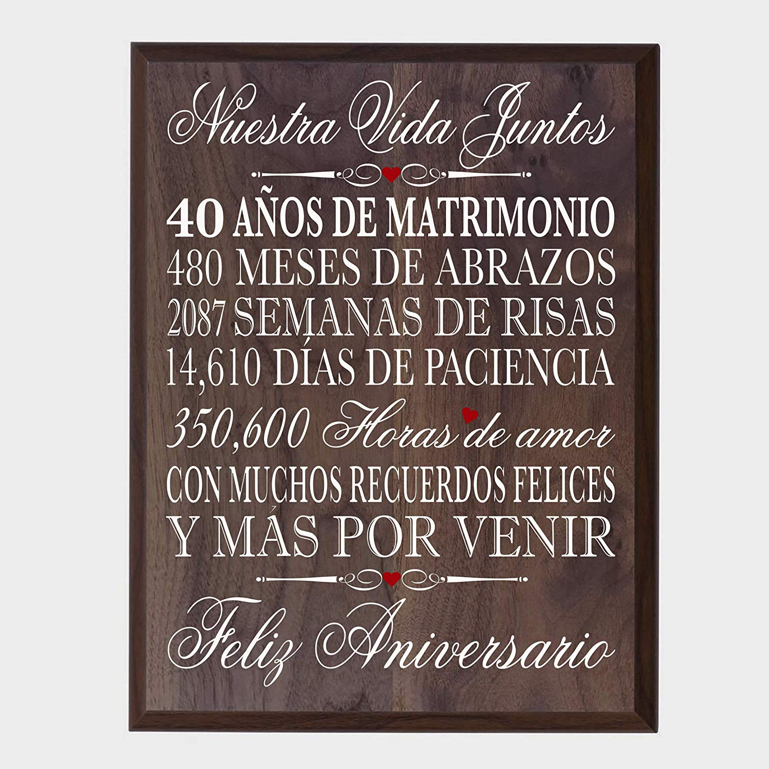 40th for Her,40th Wedding for Him 12 W X 15 H Wall Plaque Walnut LifeSong Milestones 40th Wedding Anniversary Wall Plaque Gifts for Couple