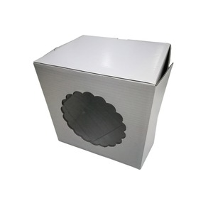 Decorative cake boxes white paper birthday cake box with display window