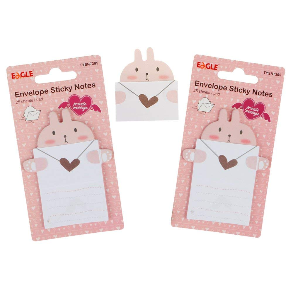 Eagle Cute Cartoon Envelope Sticky Notes,Self-Adhesive,Foldable,for Private Messaging,Memo Pad,2-Pack,50 Sheets in Total (Rabbit)