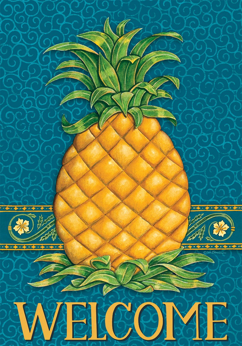 Pineapple Welcome - Standard Size, Decorative Double Sided, Licensed and Copyrighted Flag - MADE IN USA by Custom Decor Inc. 28 Inch X 40 Inch approx.