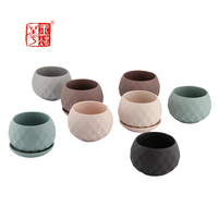 Home decor mini succulent planter / garden decoration small ceramic flower pot with tray