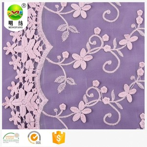 Shaoxing the most popular 3D embroidery lace net fabric with flowers