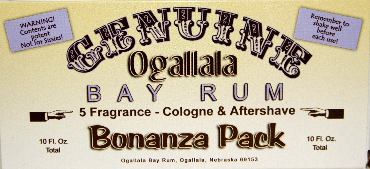 Genuine Ogallala Bay Rum Bonanza Sampler! Your chance to try all 5 of our Bay Rums. Genuine Ogallala Bay Rum Aftershave, Bay Rum Limes & Peppercorns Aftershave, Bay Rum and Sandlewood, Sage & Cedar Aftershave and our wonderful new fragrance, Ogallala Bay Rum & Vanilla Aftershave.