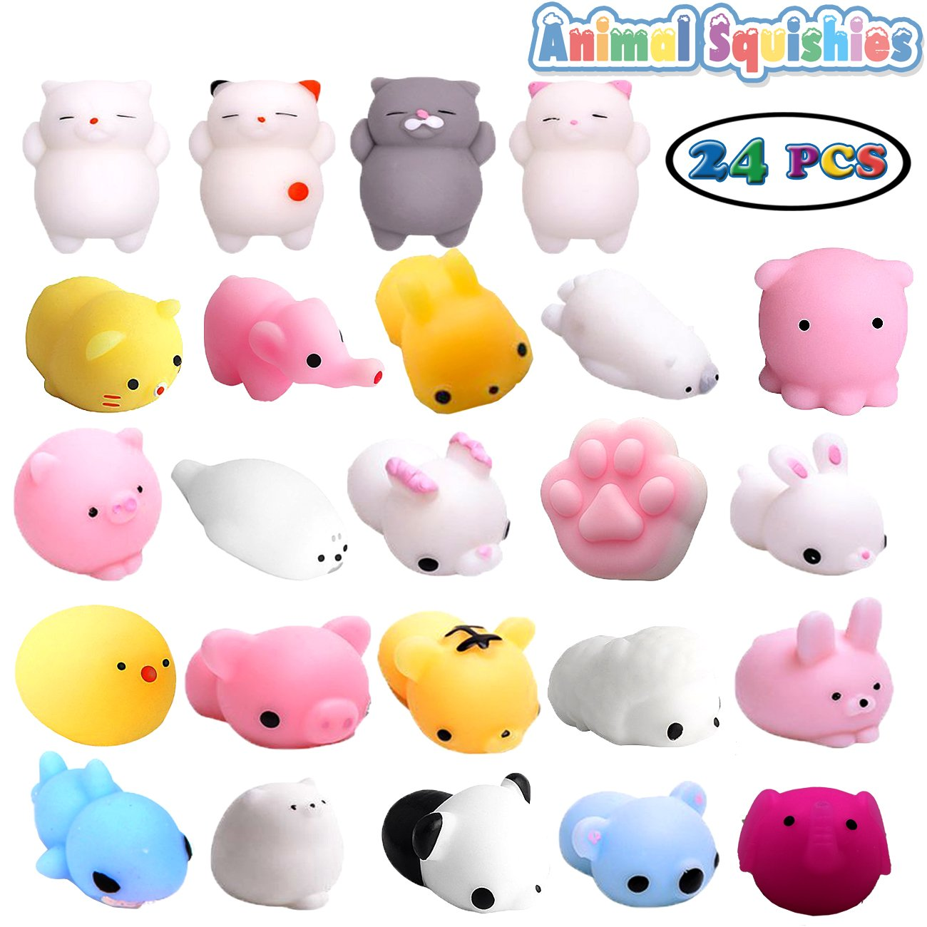 Easter Day Gifts, 24 Pack Mini Mochi Squishy Toys, Animals Stress Toys Kawaii Cartoon Squishy Panda Pig Elephant tiger Squishy Cat Stress Reliever Anxiety Toys For Children (24 Pack Mochi Squishy)