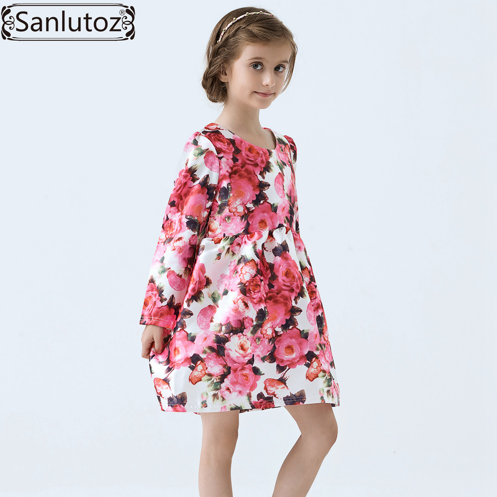 Girls font b Dress b font Winter Children Clothing Brand Kids Clothes Party Flower font b