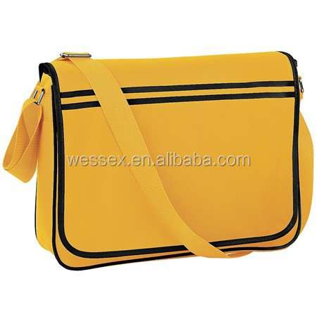 Yellow Polyester Girls Study Bags Simple Style Shoulder Messenger Boys Cross Body Shoulder Bag