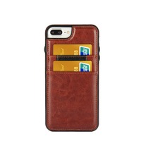 Genuine oil wax leather case for iphone case credit card holder back cover case for apple iphone 8 /7 /plus