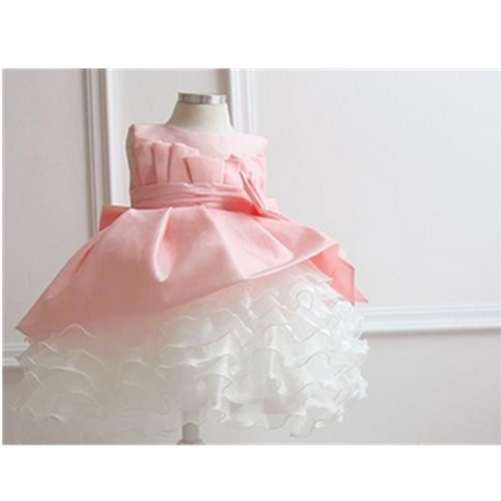 Cheap pink flower girl tutu dresses find pink flower girl tutu get quotations kakatm lovely girls one piece dress flower girl dresses gauze pink dress skirt izmirmasajfo