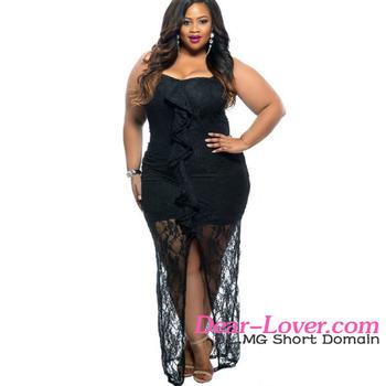 1aab0c94b70 Оптовая Продажа Новый дизайн плюс размер Черное вечернее платье для полных  женщин