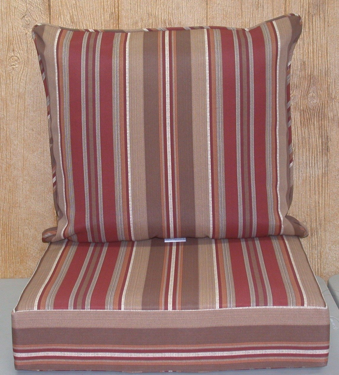2 Pc Deep Seat Outdoor Patio Cushion Set ~ Chili Stripe ~NEW Shipping Included in Price