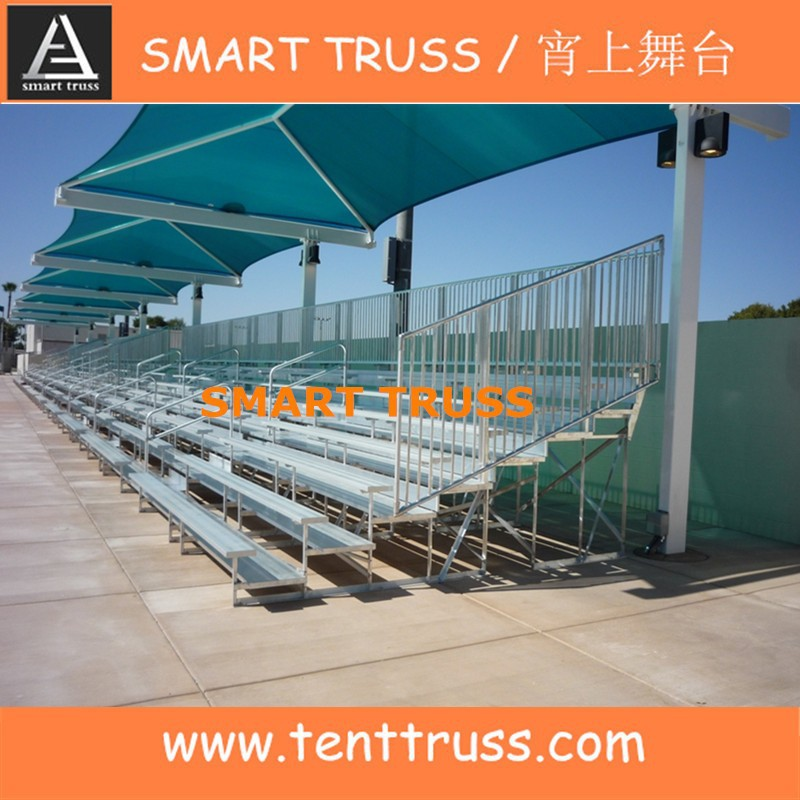 Sports grandstand aluminium bleachers seating with roof cover