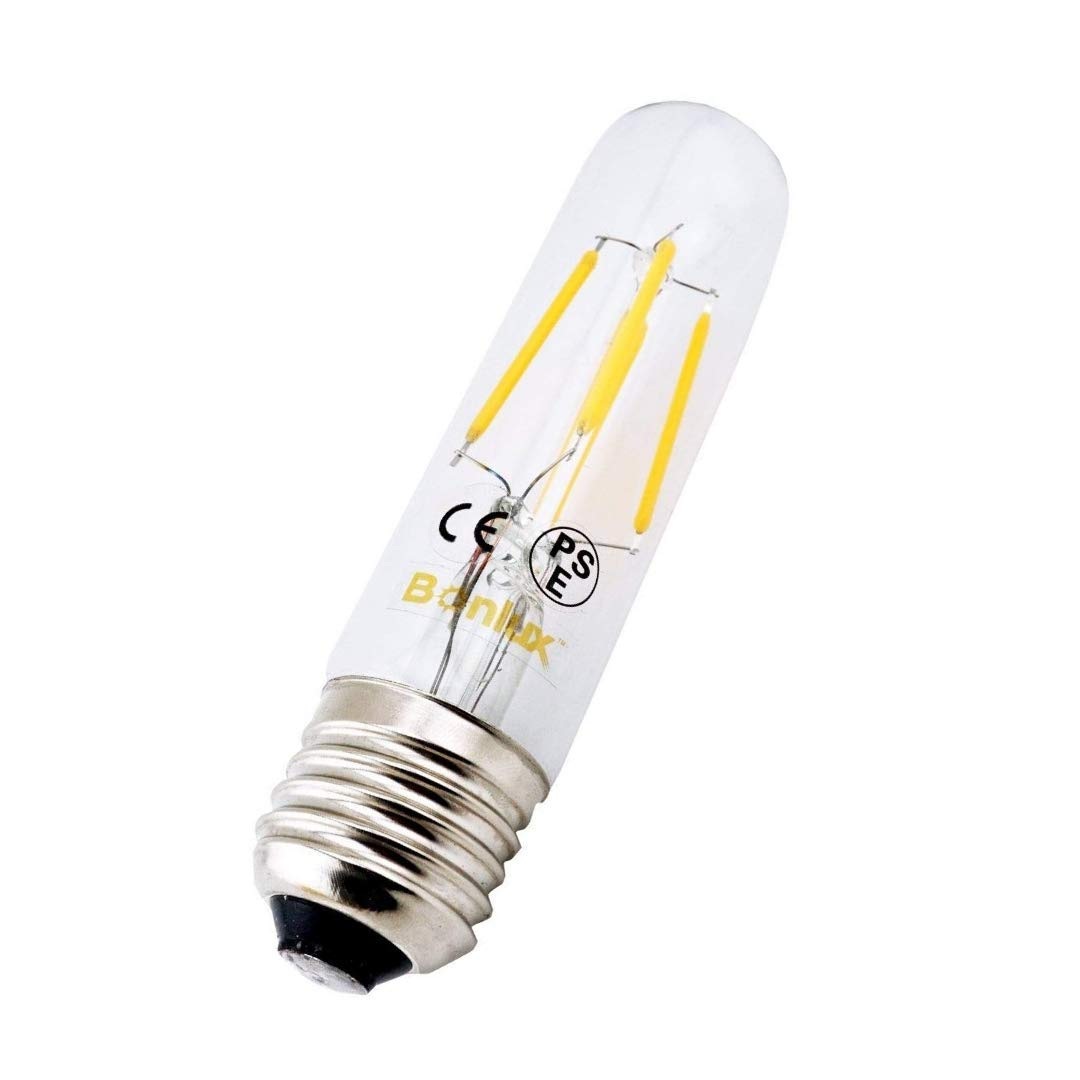 Bonlux 2-Pack 4W T10 Tubular LED Bulb, Edison Style COB LED Filament Bulb, E26 Medium Base LED Lamp, AC 85-265V, 40W Incandescent Bulb Equivalent (Daylight 6000K)