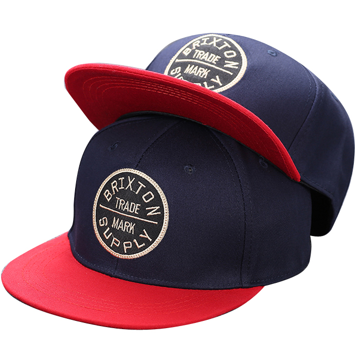WOEN <strong>Custom</strong> Red And Navy Blue Snapback Hat 3D Embroidery Snapback Cap