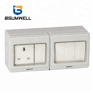 IP55 British UK Style 250VAC surface wall mounted waterproof 4Gang Switch 1Gang 13A Socket