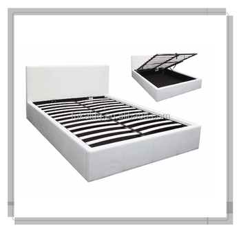 Hot Sell Modern White Pu Leather Double Bed Hydraulic Lift up for Storage Bed