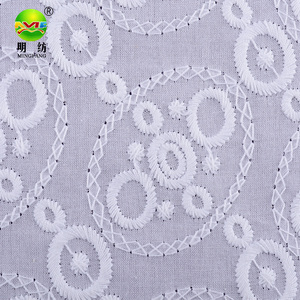 free sample of 100 white cotton textile eyelet lace embroidery fabric