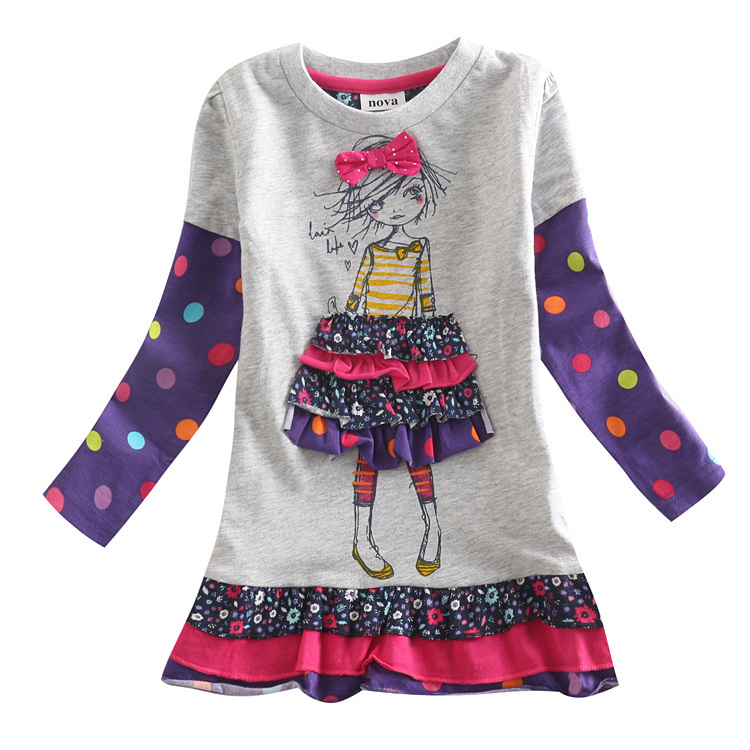 retail fashion baby girl dresses long sleeve nova kids girl clothes bow girl party summer princess dress children clothing
