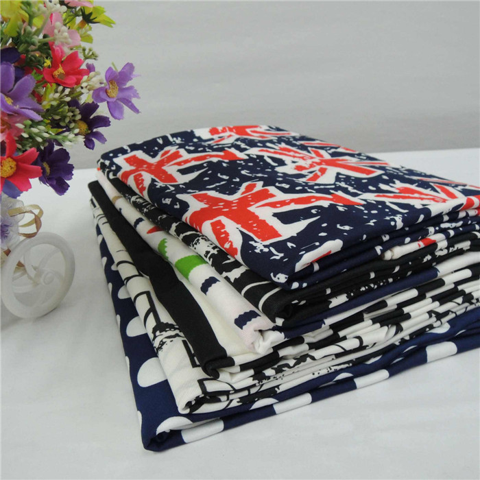 Milk Silk Fabric Polyester printed Swimwear Spandex Fabric stock Price Per Roll
