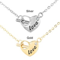 Fancy 24k yellow gold over 925 silver micro pave diamond heart pendant necklace