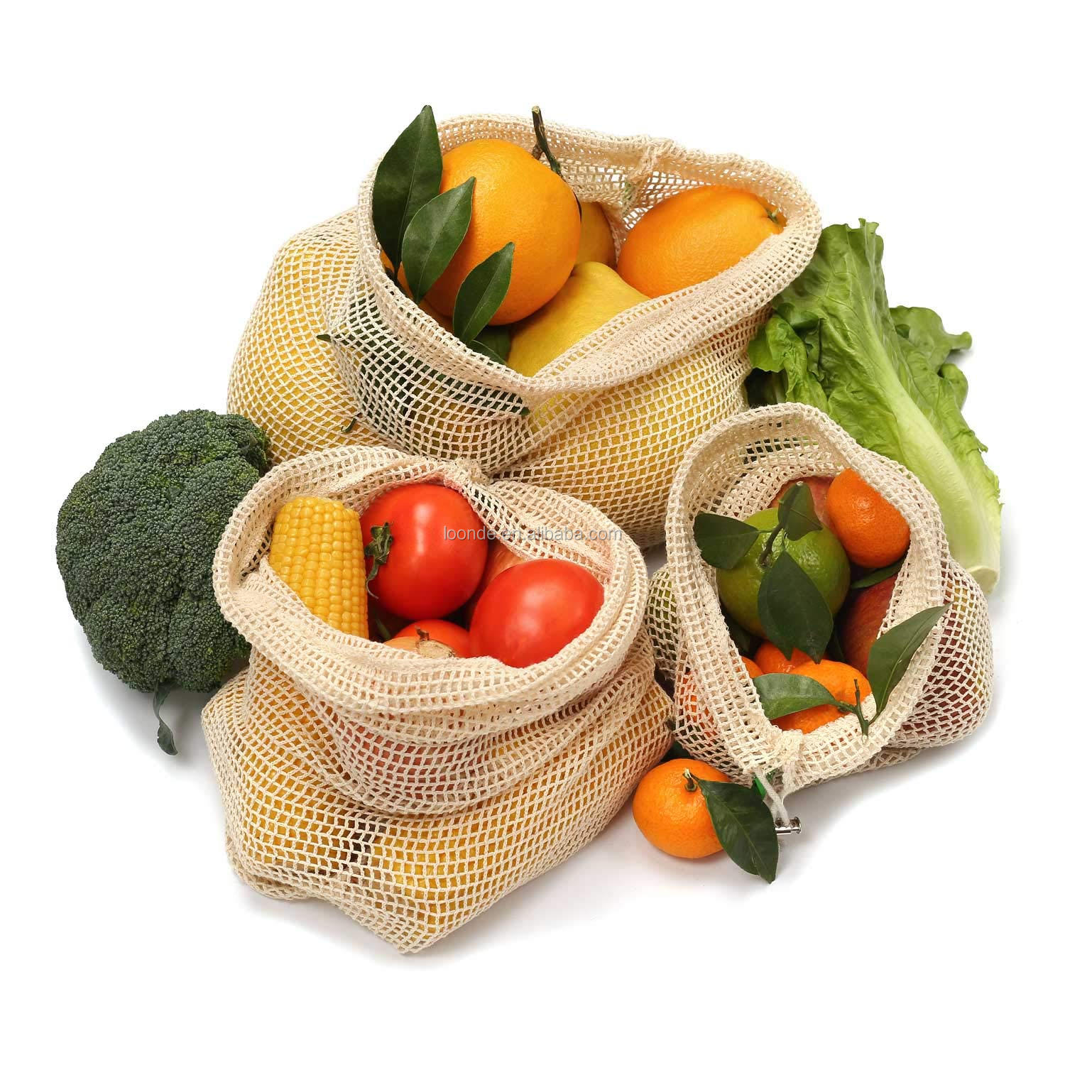 Cotton Reusable Grocery Bags Net String Shopping Bag Produce Bags Foldable Tote Set of 3 Short Handle