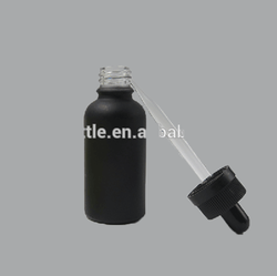 Best Selling cosmetic bottle frosted black glass vape bottles 30 ml dropper glass bottle for e juice