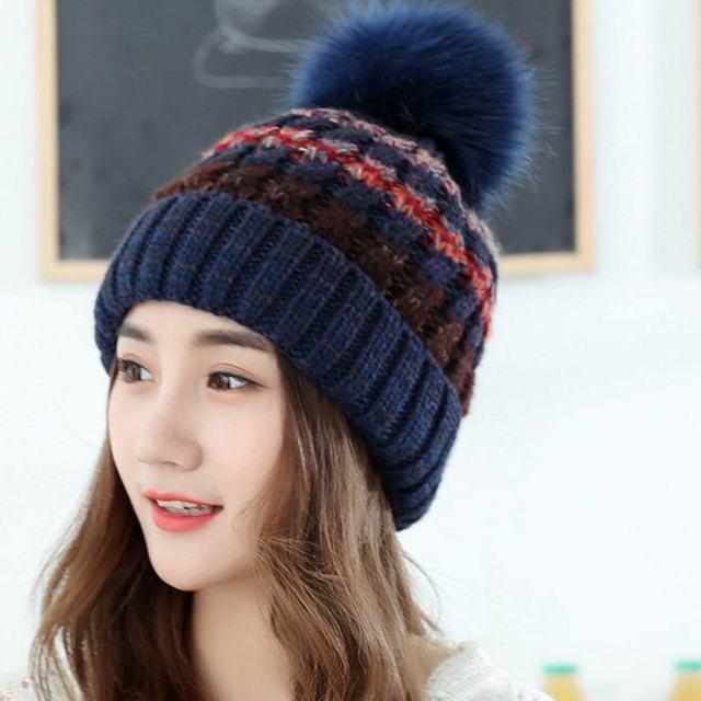 fdf979ace 2016 new hat women winter pompom hats for women colorful design big pompom  hat for women
