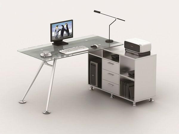 Esquina muebles de oficina en casa escritorio de vidrio for Muebles oficina cristal