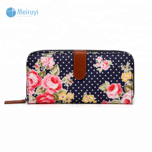 High quality Hot sale oilcloth new design all over printed wave point ladies purse travel custom print wallet with zipper